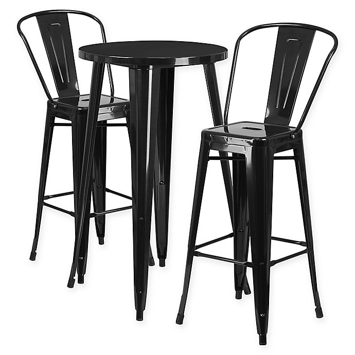 Alternate image 1 for Flash Furniture 3-Piece Round Metal Bar Table and Stools Set in Black