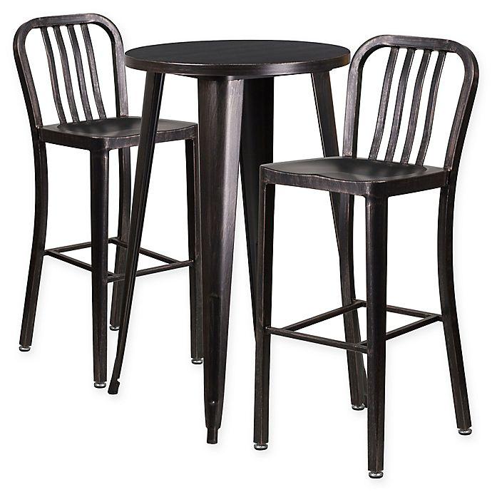 Amazing Flash Furniture 3 Piece 24 Inch Round Metal Bar Table And Uwap Interior Chair Design Uwaporg