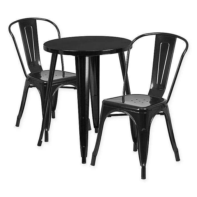 Alternate image 1 for Flash Furniture 3-Piece Round Metal Table and Stackable Chairs Set in Black