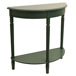 Décor Therapy Timeless Half Round Console Table in Antique Teal
