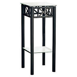 Metal Accent Table in Black with Tempered Glass