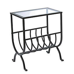 Metal Accent Table in Brown with Rack