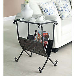 Mixed Metal Accent Table in Black with Rack