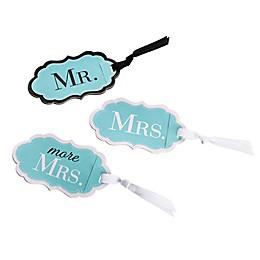 "Lillian Rose™ 3-Piece ""Mr.""/""Mrs.""/""More Mrs."" Luggage Tag Set in Aqua"