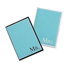 "Lillian Rose™ 2-Piece ""Mr."" and ""Mrs."" Passport Cover Set in Aqua"