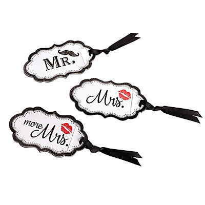 Lillian Rose™ 3-Piece Mustache and Lips Luggage Tag Set