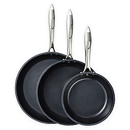 Kyocera Nonstick Ceramic Fry Pan Collection in Black/Stainless Steel