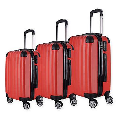 Brio Luggage #1331 Wide-Ribbed Hardside 3-Piece Spinner Luggage Set