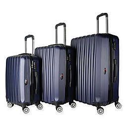 Brio Luggage #1600 Mid-Ribbed Hardside 3-Piece Spinner Luggage Set