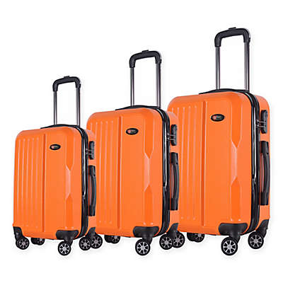 Brio Solid Ribbed 3-Piece Hardside Spinner Luggage Set