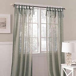 Laura Ashley Danbury 84-Inch Tie Top Sheer Window Curtain Panel in Blue