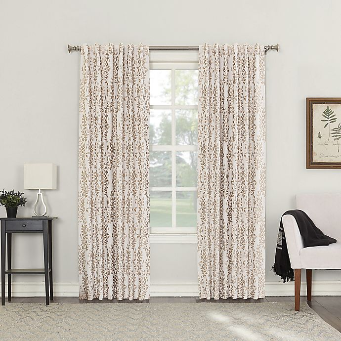 Alternate image 1 for Roselia 63-Inch Back Tab Room Darkening Window Curtain Panel in Linen