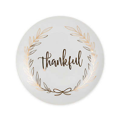 """Everyday White® by Fitz and Floyd® """"Thankful"""" Coupe Salad Plate in White"""