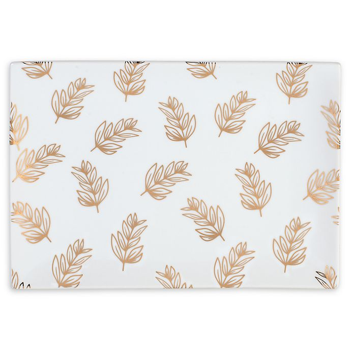 Alternate image 1 for Everyday White® by Fitz and Floyd® Leaves Rectangular Serving Tray in White
