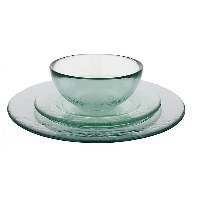Alternate image 1 for French Home 12-Piece Clear Recycled Glass Urban Dinnerware Set