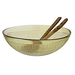 French Home Birch 3-Piece Salad Set in Caramel/Olive Wood