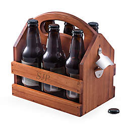 Bey-Berk Wood Bottle Caddy with Bottle Opener