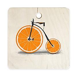 Deny Designs Vitamin by Florent Bodart 11.5-Inch Square Wood Cutting Board in Orange