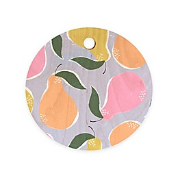 Deny Designs Pear Confetti by Joy Laforme11.5-Inch Round Wood Cutting Board in Orange