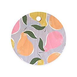 Deny Designs Pear Confetti by Joy Laforme11.5-Inch Round Wood Cutting Board in Orange