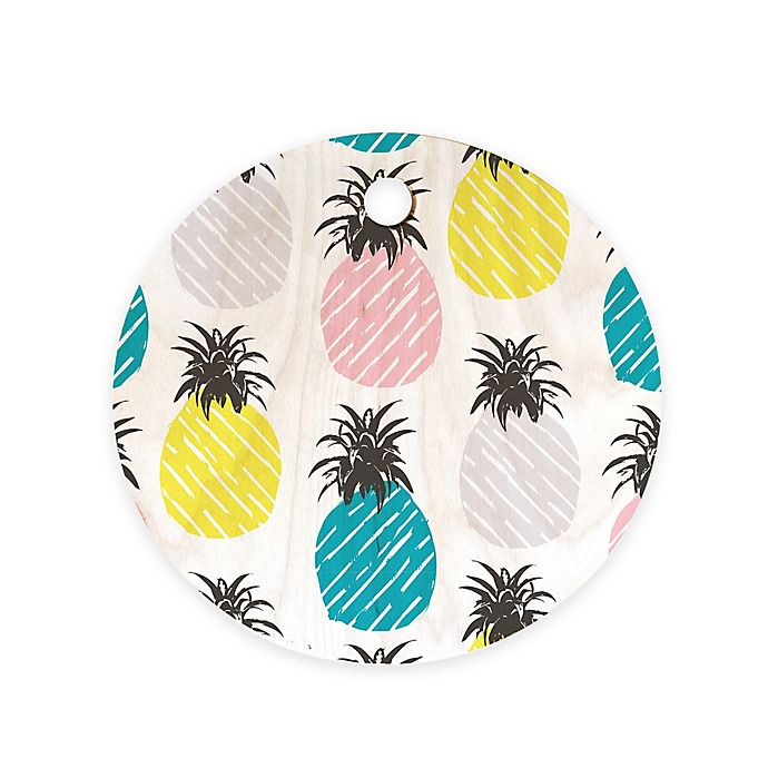 Alternate image 1 for Deny Designs Pineapple Pastel 11.5-Inch Round Wood Cutting Board in Blue