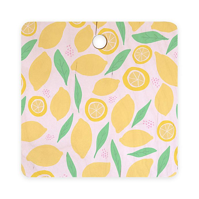 Alternate image 1 for Deny Designs Pink Lemonade 11.5-Inch Square Wood Cutting Board in Pink