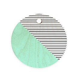 Deny Designs Mint and Stripes 11.5-Inch Round Wood Cutting Board in Green