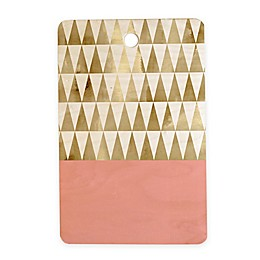Deny Designs Gold Triangles 11.5-Inch Rectangular Wood Cutting Board in Gold