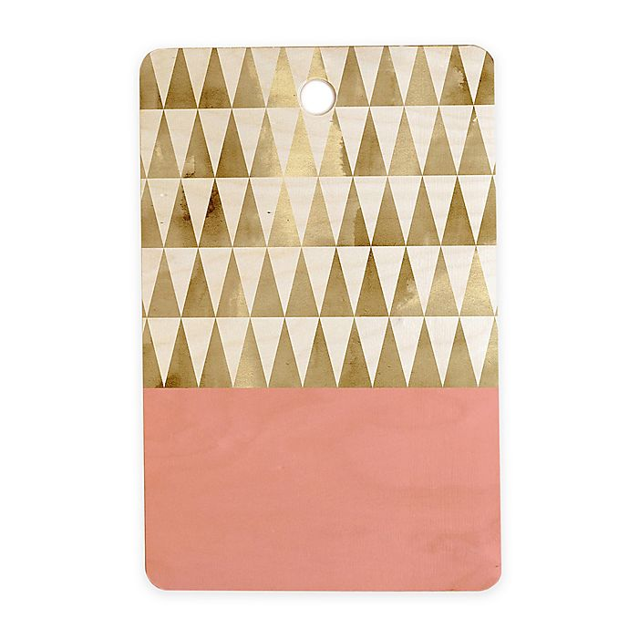 Alternate image 1 for Deny Designs Gold Triangles 11.5-Inch Rectangular Wood Cutting Board in Gold