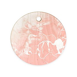 Deny Designs 11.5-Inch Round Marble Wood Cutting Board in Pink/White