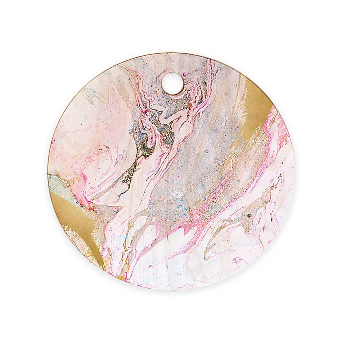 Alternate image 1 for Deny Designs Iveta Abolina Winter 11.5-Inch Wood Marble Round Cutting Board in Pink