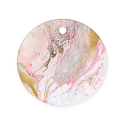 Deny Designs Iveta Abolina Winter 11.5-Inch Wood Marble Round Cutting Board in Pink