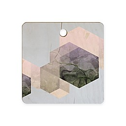 Deny Designs 11.5-Inch Square Marble Geometry Wood Cutting Board in Grey