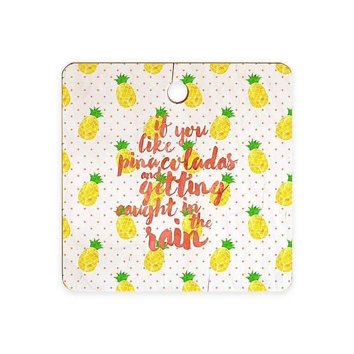 Alternate image 1 for Deny Designs Pinapple Pina Coladas 11.5-Inch Square Cutting Board in Yellow