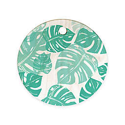 Deny Designs Linocut Monstera  by Bianca Green 11.5-inch Round Cutting Board in Green