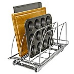 Lynk Professional Roll-Out Cutting Board and Bakeware Organizer in Chrome