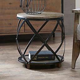INK+IVY Cirque Metal Bent Accent Drum  Table in Antique Bronze