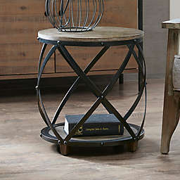 INK+IVY Cirque Metal Bent Accent Drum  Table in Antique Bronze