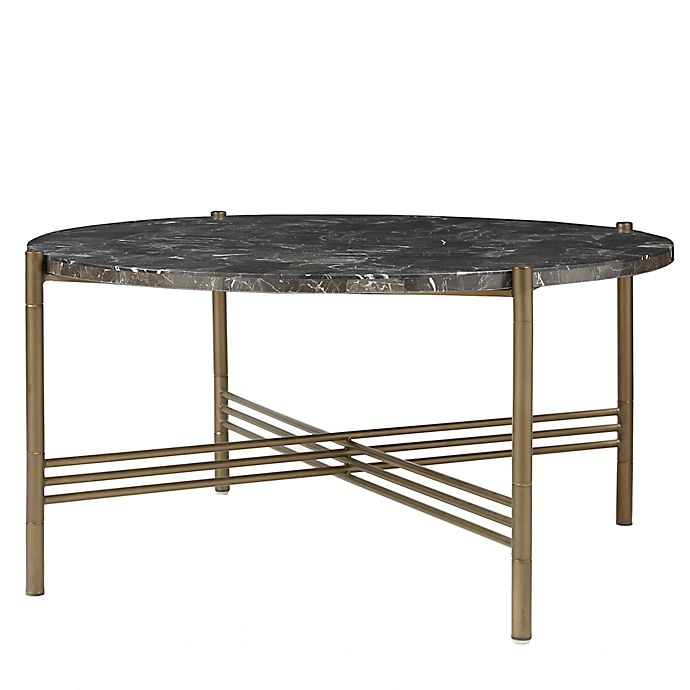 Alternate image 1 for Madison Park Signature Rowen Marble Coffee Table in Bronze Finish