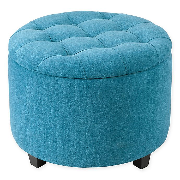 Alternate image 1 for Madison Park Sasha Round Ottoman with Shoe Holder Insert in Teal