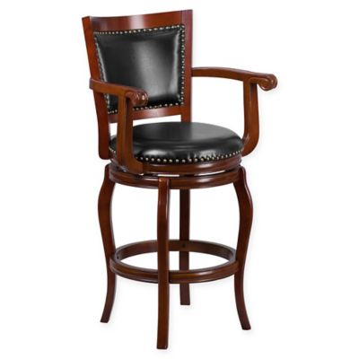 buy popular 588a9 26089 Flash Furniture Wood High Bar and Counter Stools with Arms in Black/Cherry