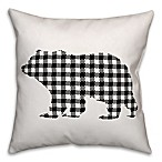 Designs Direct Buffalo Check Bear Square Throw Pillow in Black/White