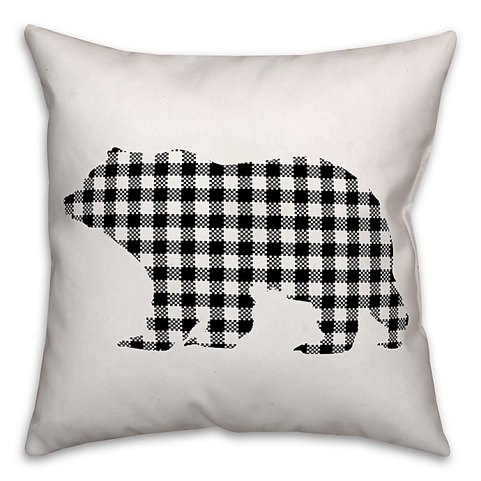 Alternate image 1 for Designs Direct Buffalo Check Bear Square Throw Pillow in Black/White