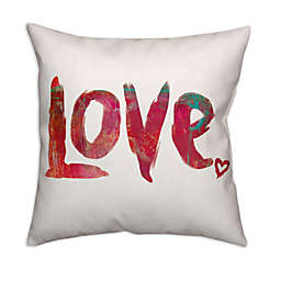 "Designs Direct ""Love"" Square Throw Pillow in Red"