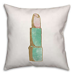 Designs Direct Glam Lipstick Square Throw Pillow in Teal/Pink