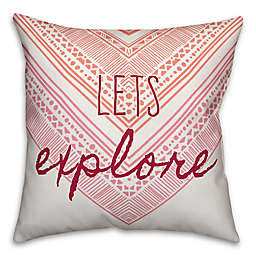 "Designs Direct ""Let's Explore"" Square Throw Pillow in Pink"