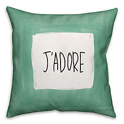 "Designs Direct ""J'Adore"" Square Throw Pillow in Green"