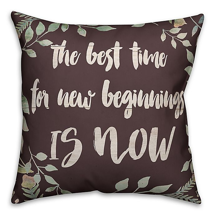 Alternate image 1 for Designs Direct New Beginnings Square Throw Pillow in Brown/Green