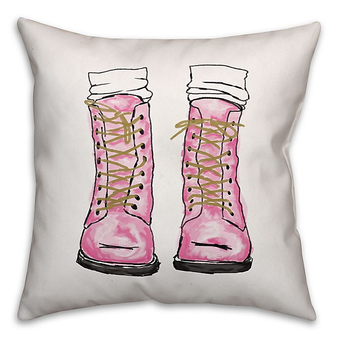 Alternate image 1 for Designs Direct Explorin' Boots Square Throw Pillow in Pink