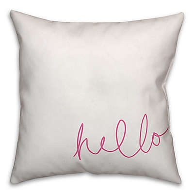 Designs Direct Hello Square Throw Pillow in Pink/White